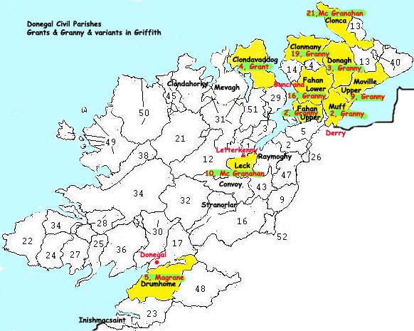 Donegal Map Of Ireland.Grant Family In Donegal Ireland
